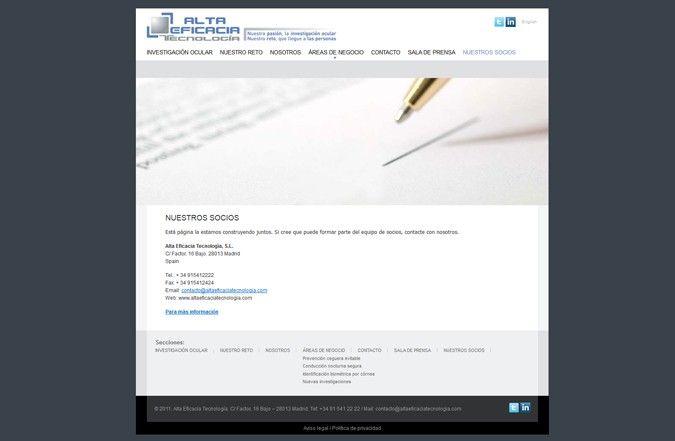 Segunda página interior web alta eficacia