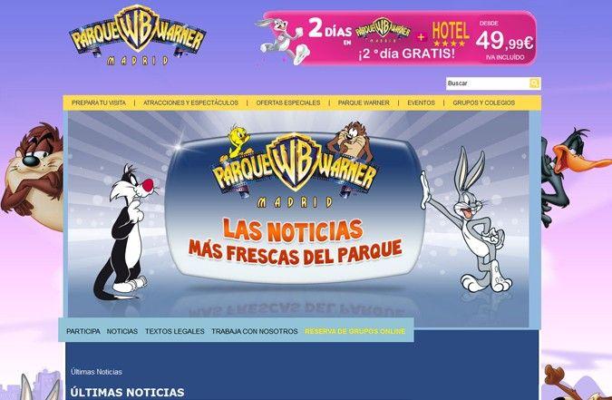 Página interior web Parque Warner