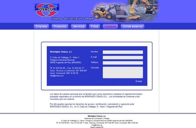 Página interior web Osacu