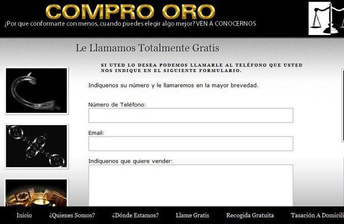 Segunda página interior web Compro Oro