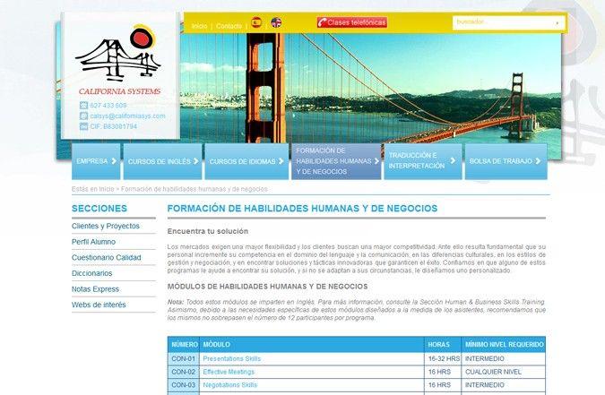 Página interior web California Systems