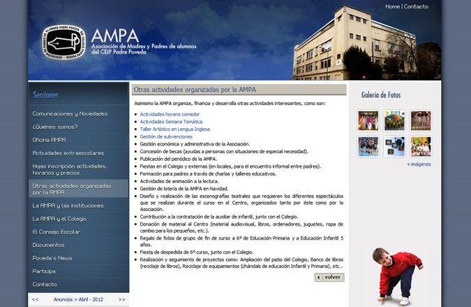 Página interior web Ampa