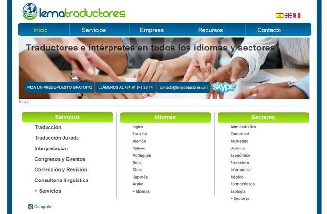 Tercera página interior web Lema Traductores