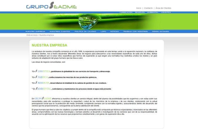 Segunda página interior web Grupo Seadme