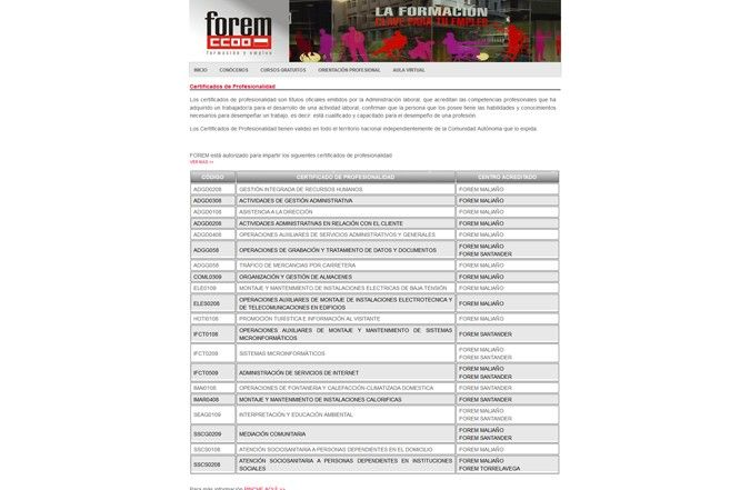 Página interior web Forem Cantabria