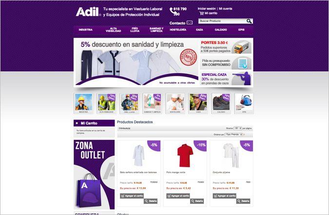 Página inicio tienda online Adil