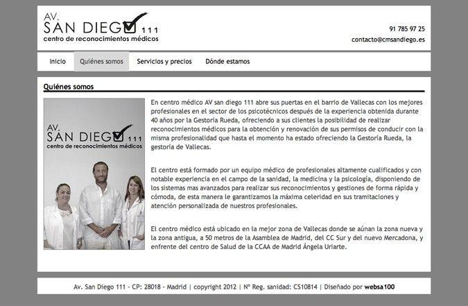 Página interior web Centro médico San Diego