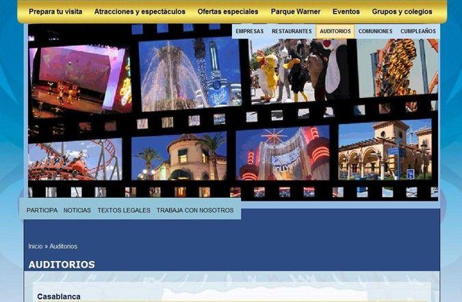 Segunda página interior web Parque Warner