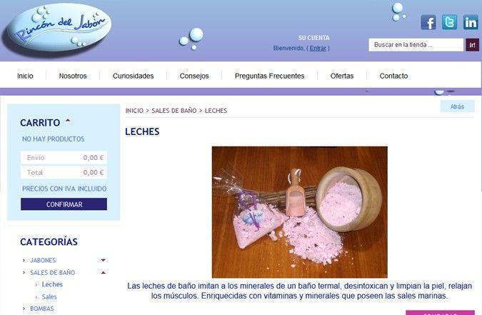 Página interior web Rincón del Jabón