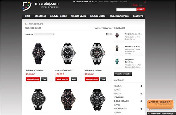 Página interior tienda online masreloj.com