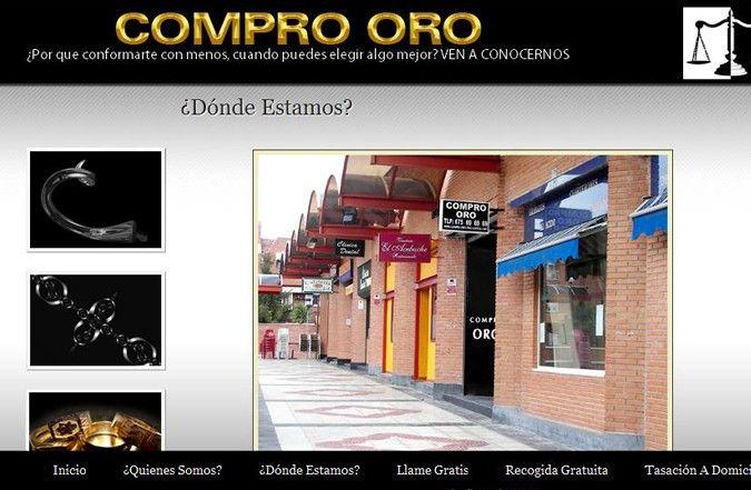 Tercera página interior web Compro Oro