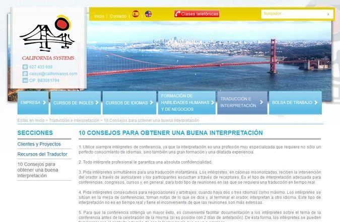 Segunda página interior web California Systems