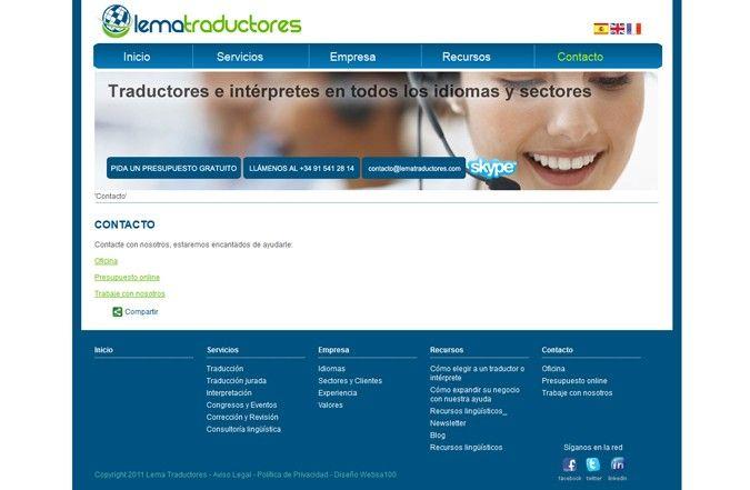 Página interior web Lema Traductores