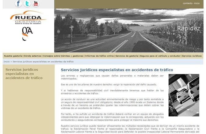 Segunda página interior web Gestoría Rueda