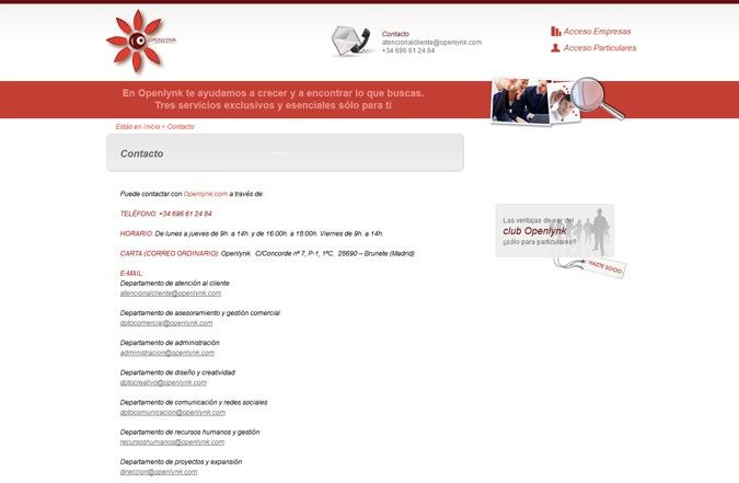 Segunda página interior web Openlynk