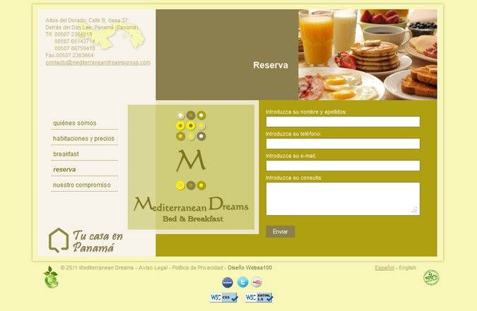 Página interior web Mediterranean Dreams