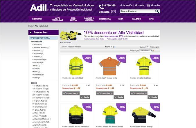 Segunda página interior tienda online Adil