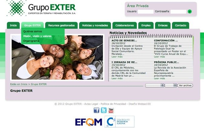Tercera página interior web grupo exter