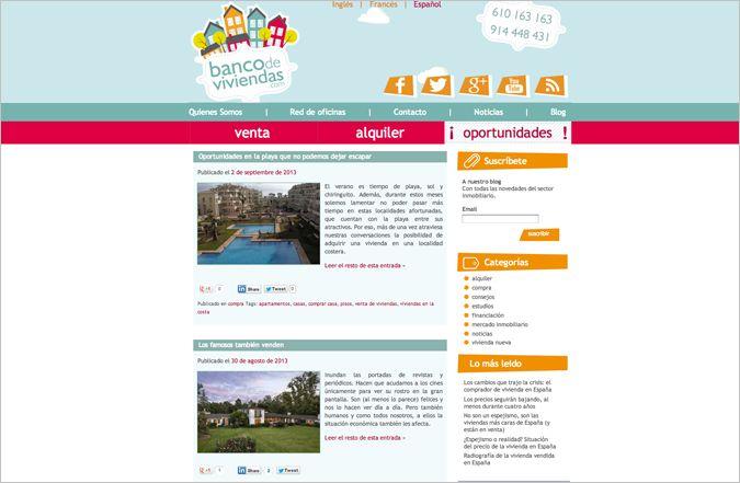 Página interior web Banco de Viviendas