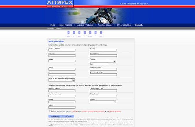 Página interior web atimpex