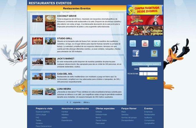 Tercera página interior web Parque Warner