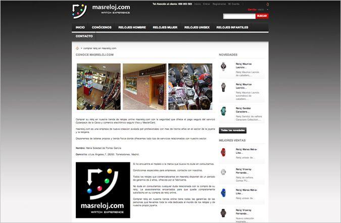 Tercera página interior tienda online masreloj.com
