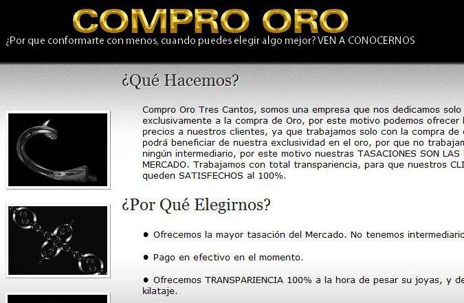 Cuarta página interior web Compro Oro