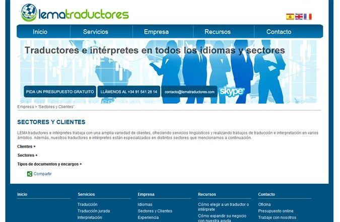 Cuarta página interior web Lema Traductores