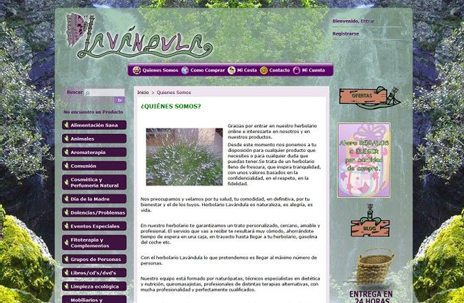 Tercera página interior tienda online Lavándula
