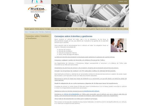 Tercera página interior web Gestoría Rueda