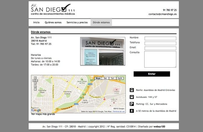 Segunda página interior web Centro médico San Diego