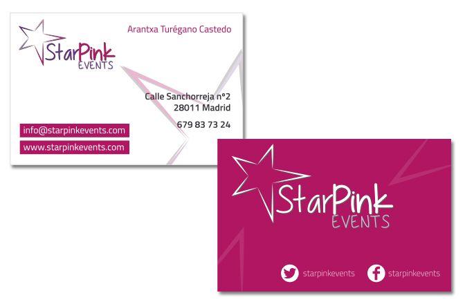 Logo y tarjetas corporativas Star pink events