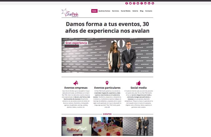 inicio web de Sta Pink Events