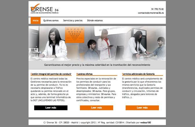 Página de inicio web Centro médico Orense 36