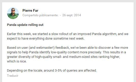 webmaster de Google anunciando actualización de Google Panda