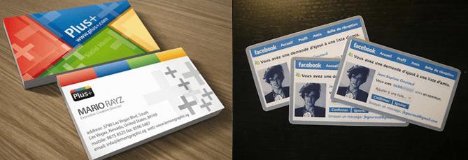 Tarjetas de visita que imitan a los social media