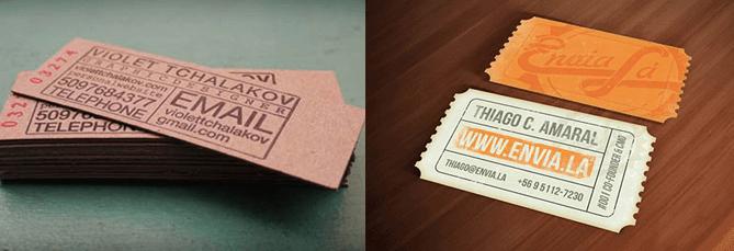 Tarjetas de visita que imitan talonarios de tickets