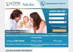 Landing page de seguros de Salud para CMS Seguros con Adeslas
