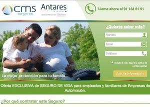 Landing page de seguros de vida de CMS Seguros en colaboración con Antares