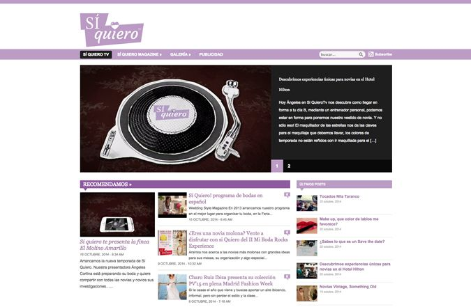 Página web de inicio de Sí quiero tv