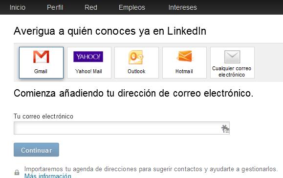 importa re de contactos de LinkedIn
