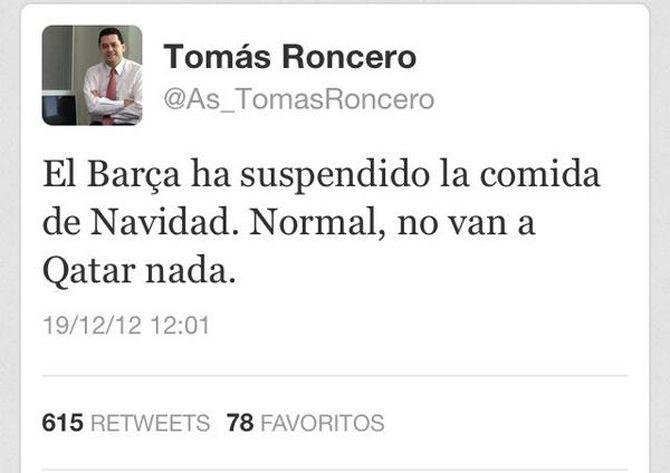Tuit de Tomás Roncero