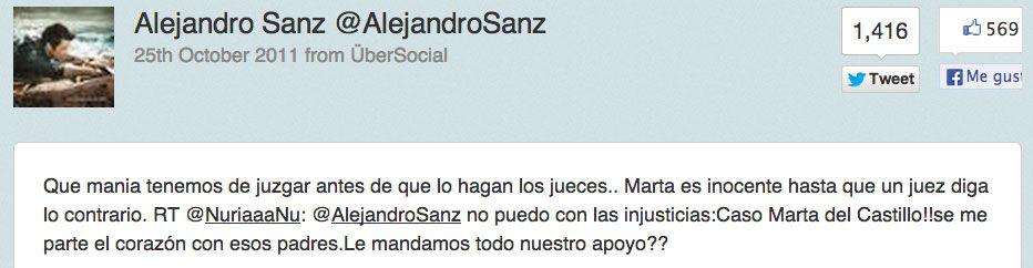 Tuit de Alejandro Sanz