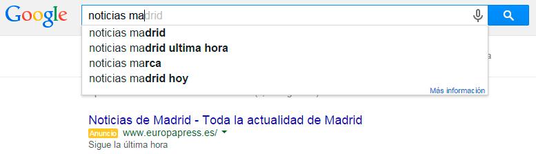 Google Instant Noticias de Madrid