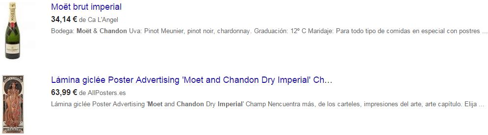 anuncio Moet para Google Shopping