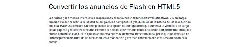 Google informa cómo convertir los anuncios Flash en Chrome a HTML5