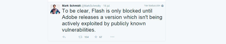 Twitter de Mark Schdmidt sobre el bloqueo de Flash