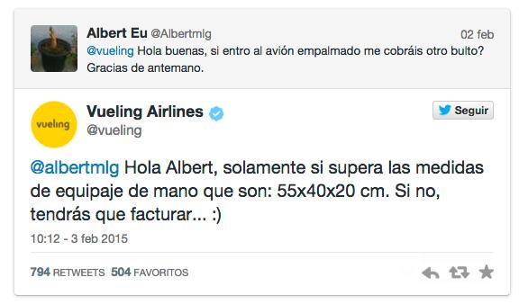 Ejemplo de Tuit de Vueling en Twitter