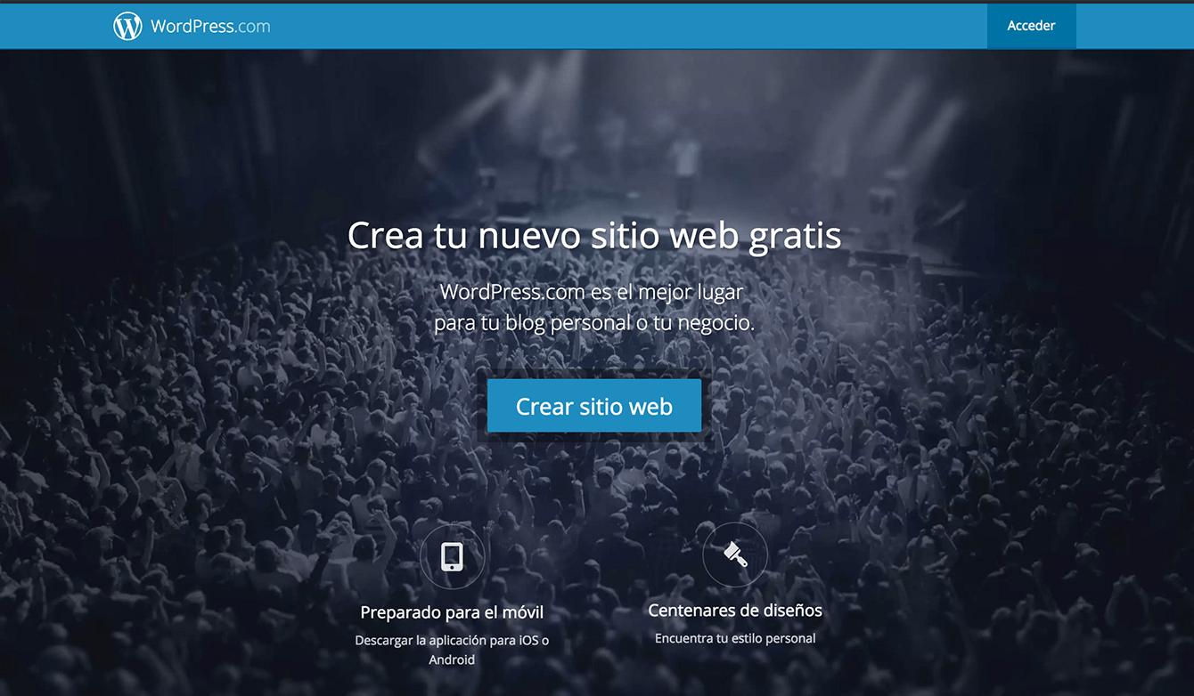 Captura de pantalla de wordpress.com
