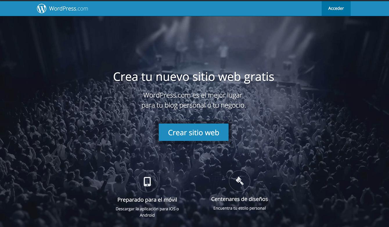 Captura de pantalla de wordpress.com